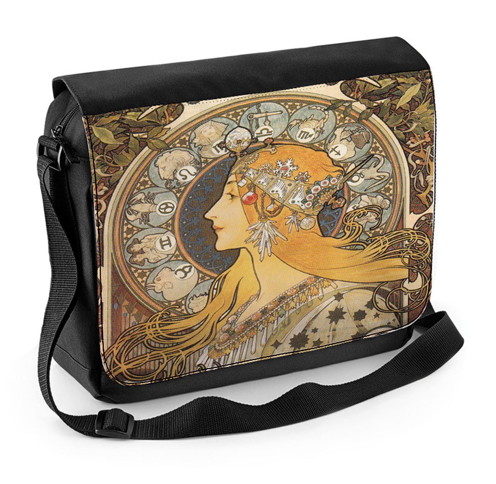 558fc504062 Details about Alphonse Mucha Zodiac Laptop Messenger Bag - Art Nouveau