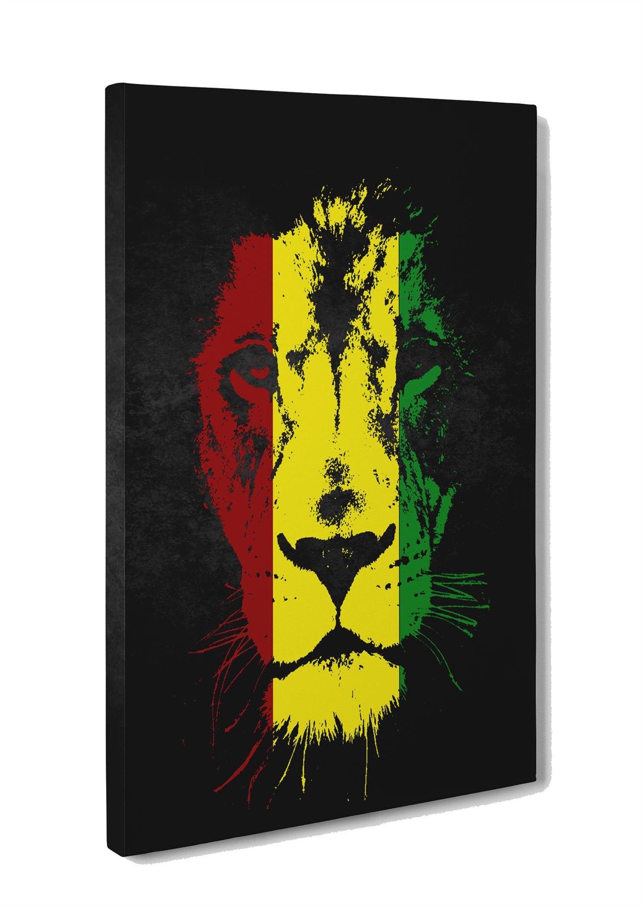 Lion of Judah Jamaican Colours Box Canvas Print Wall Art- Reggae ...
