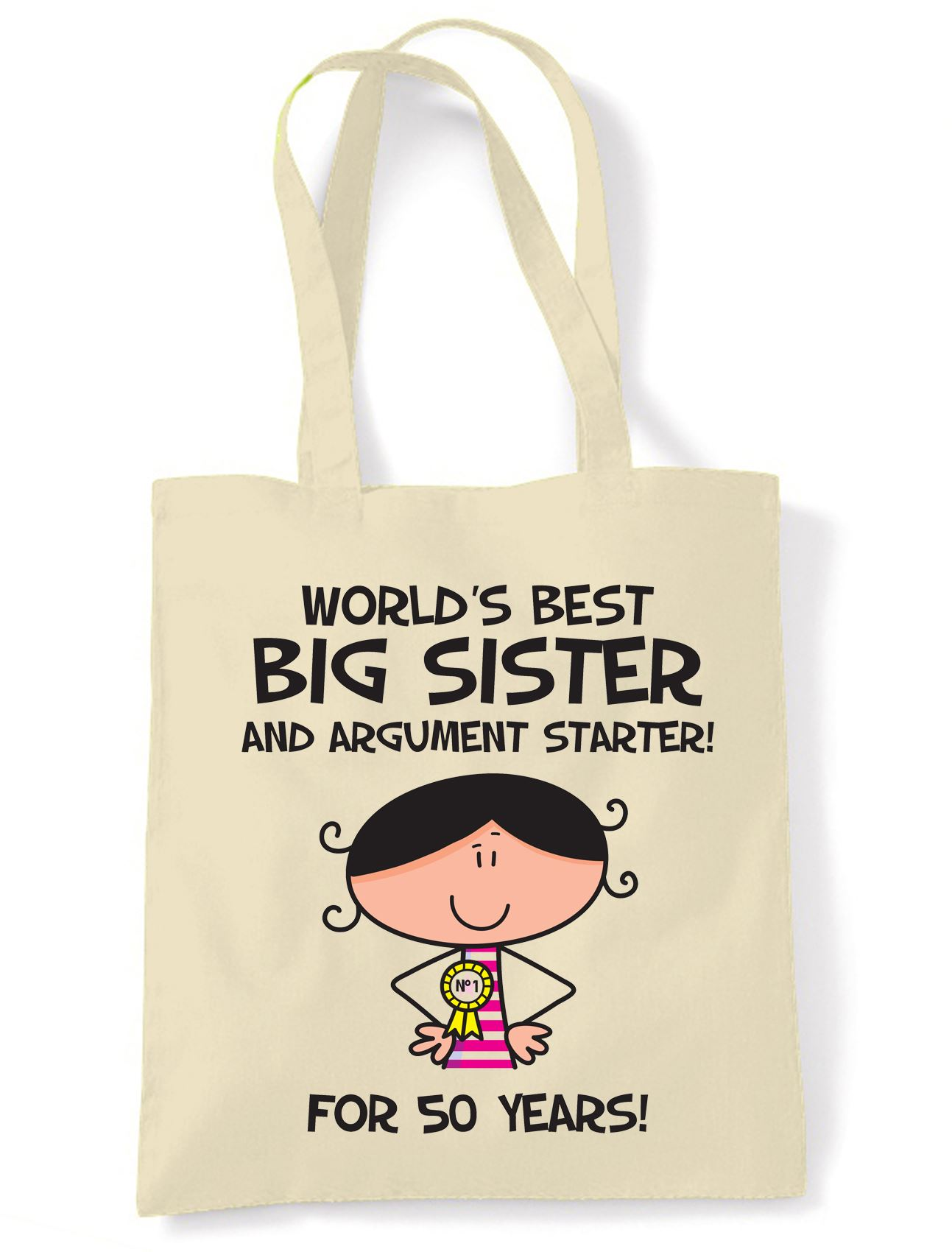 Worlds Best Big Sister 50th Birthday Present Shoulder Tote Bag