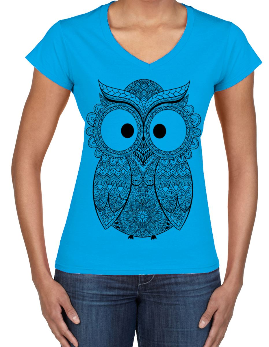 Cross eyed owl large print v neck women 39 s t shirt funny T shirt with owl design