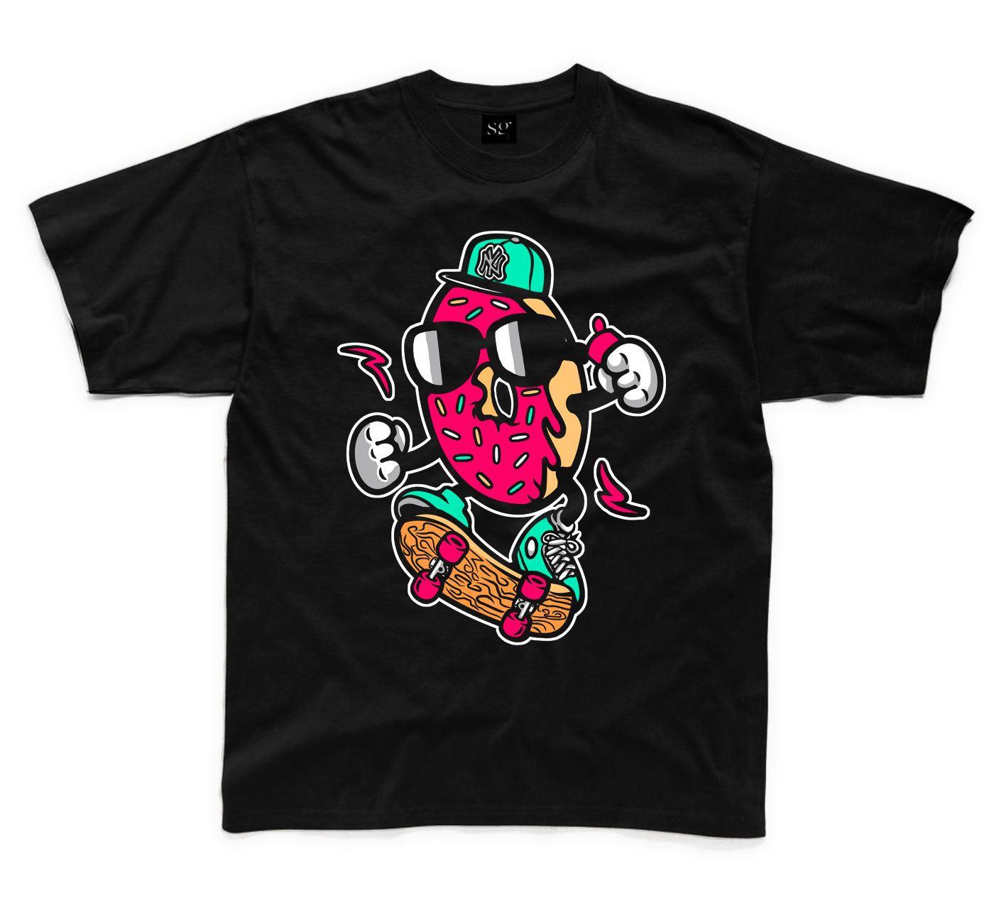 Donut Skateboarder Kids Childrens T-Shirt Skateboard Clothing Tee