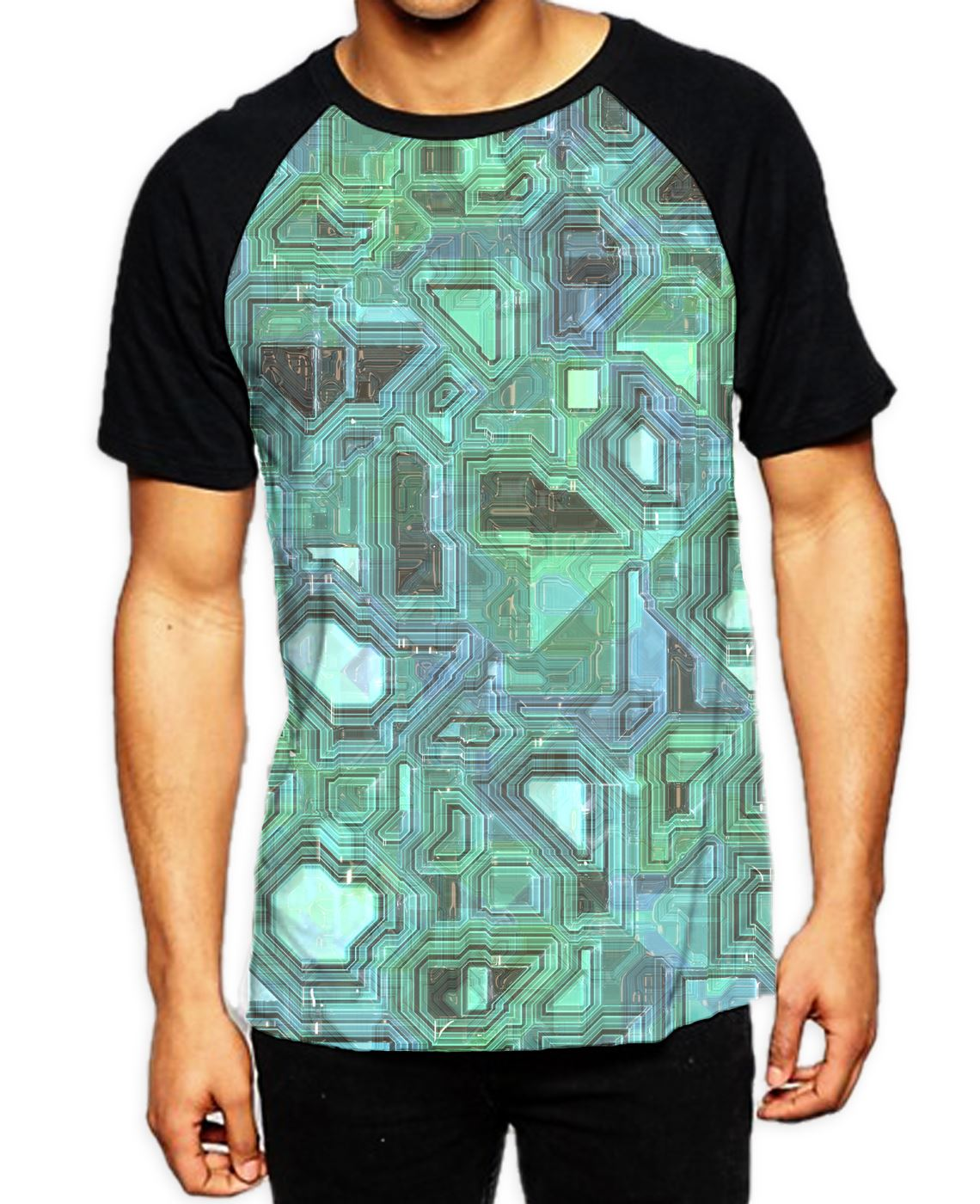efced210f206 Details about Blue Geometric Pattern Men's All Over Print Graphic Contrast  Baseball T Shirt