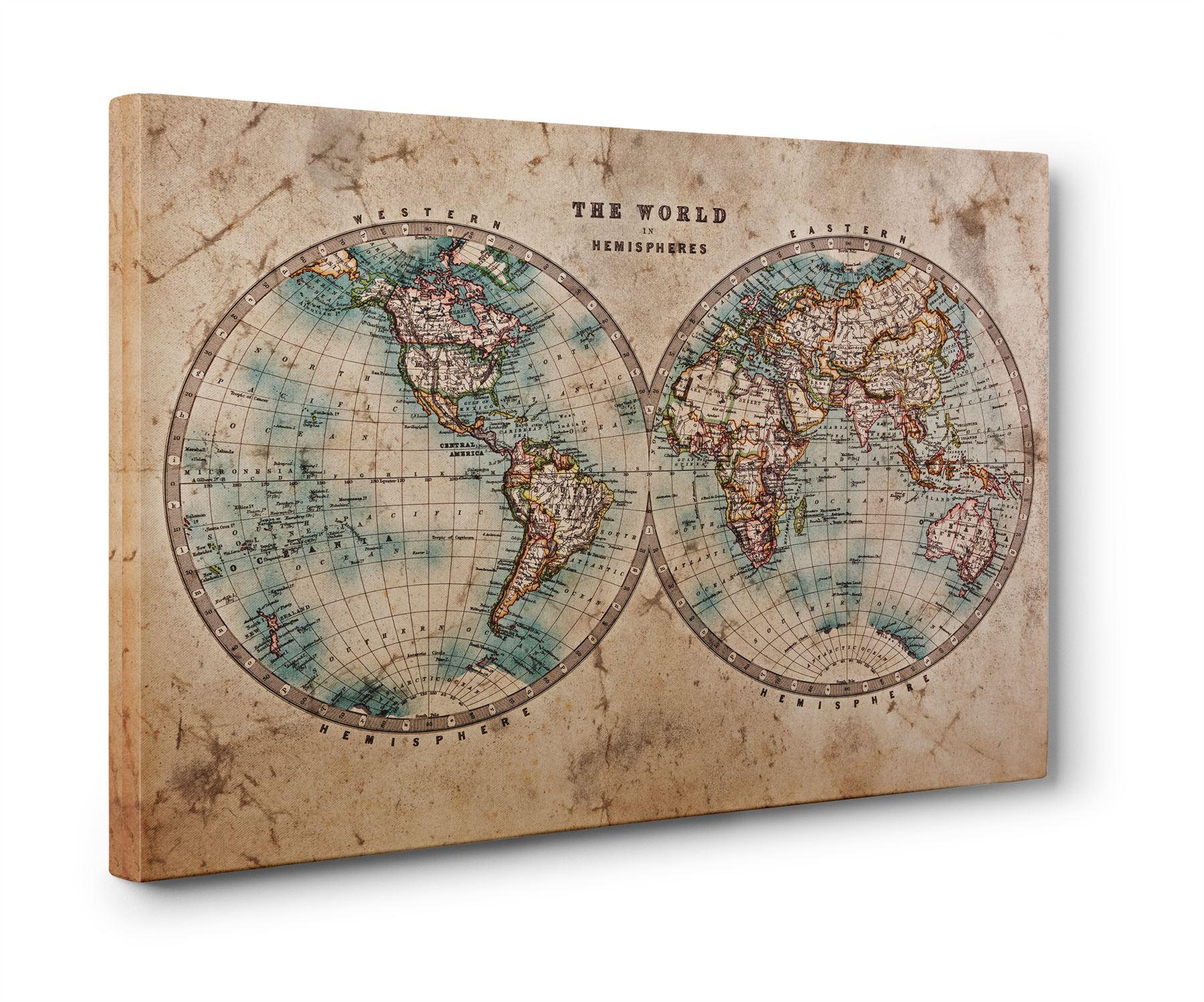 Vintage Map Of The World Hemispheres Box Canvas Print Wall Art - Antique map box