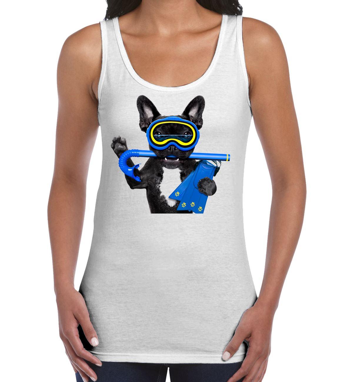 Love Frenchy Women/'s burnout racerback tank top french bulldog shirts