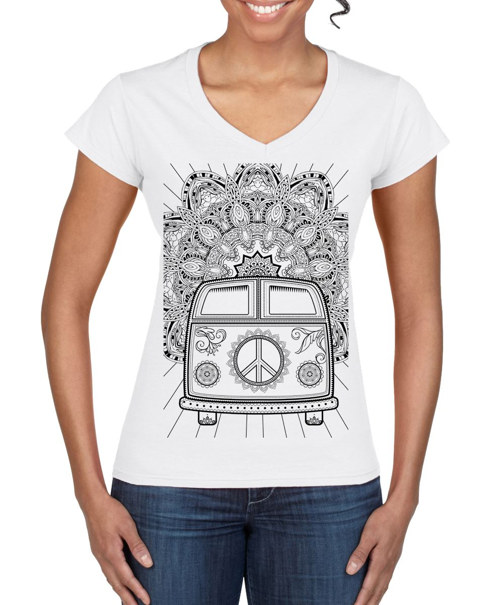 Hippie van vw camper large print v neck women 39 s t shirt for Large v neck t shirts