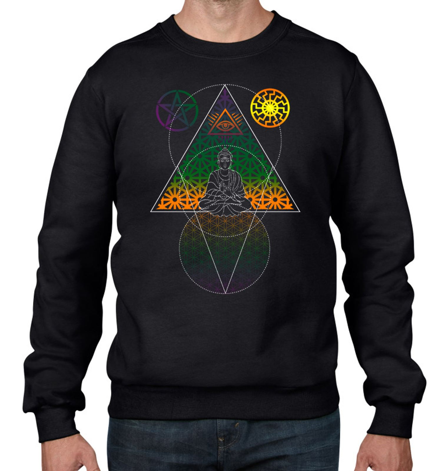 Buddha Third Eye Psychedelic Hipster Women/'s T-Shirt
