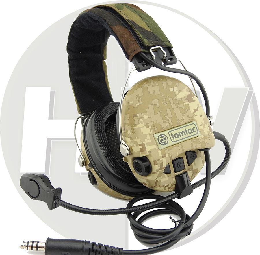Airsoft Tomtac Sordin Headset Mic Boom Radio Msa Design Woodland