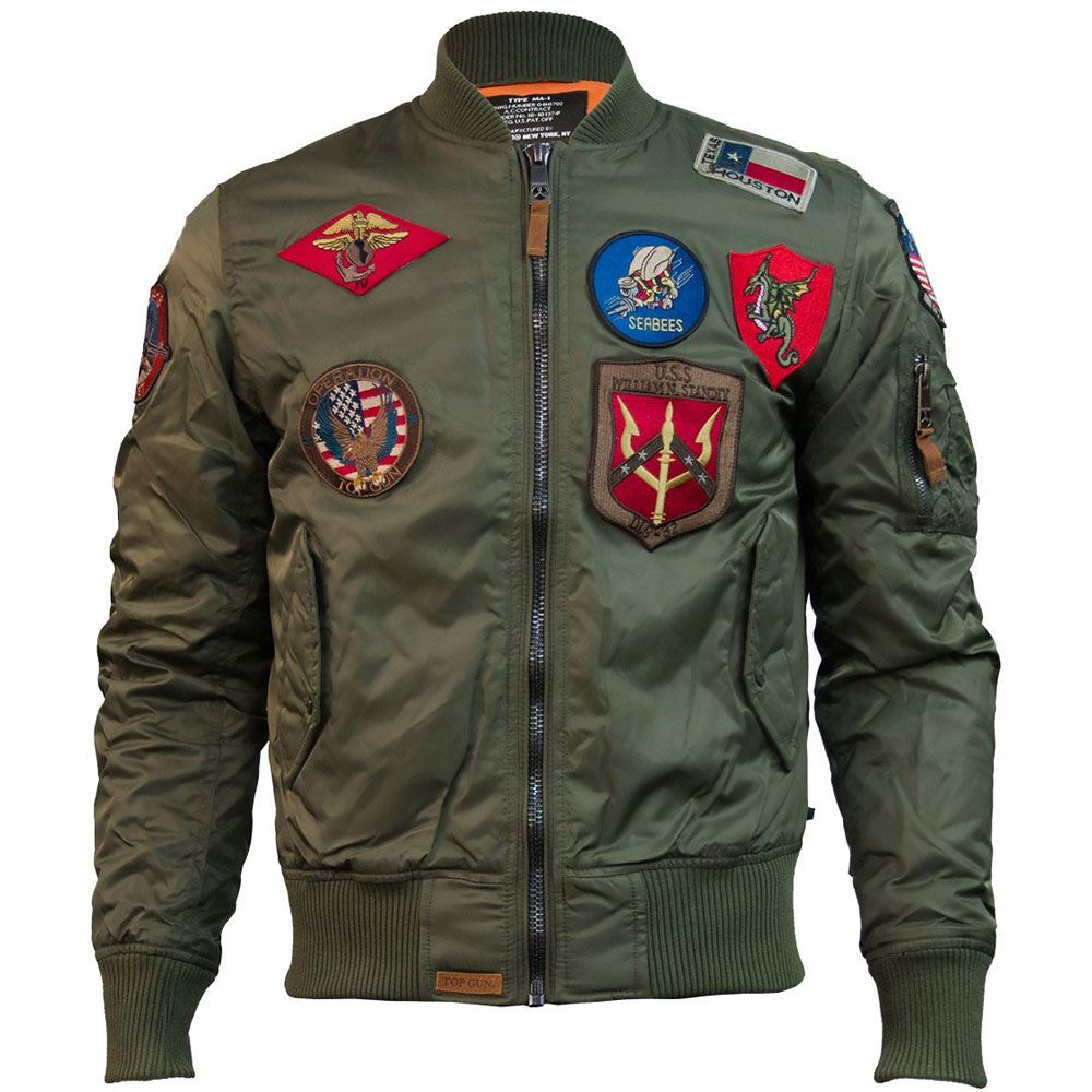 14a4087434b Top Gun MA 1 Nylon Bomber Jacket With Patches Olive Green S