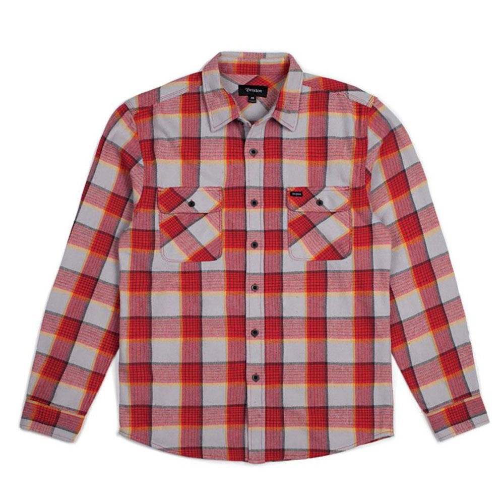 Brixton Bowery Flannel L S Shirt Red Grey  72295d38d