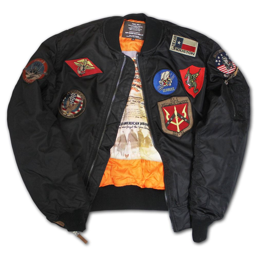7b014385d6b Top Gun MA 1 Nylon Bomber Jacket with Patches Black