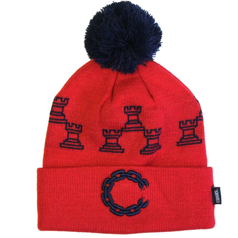 Crooks & Castles Chain C Pom Beanie True Red