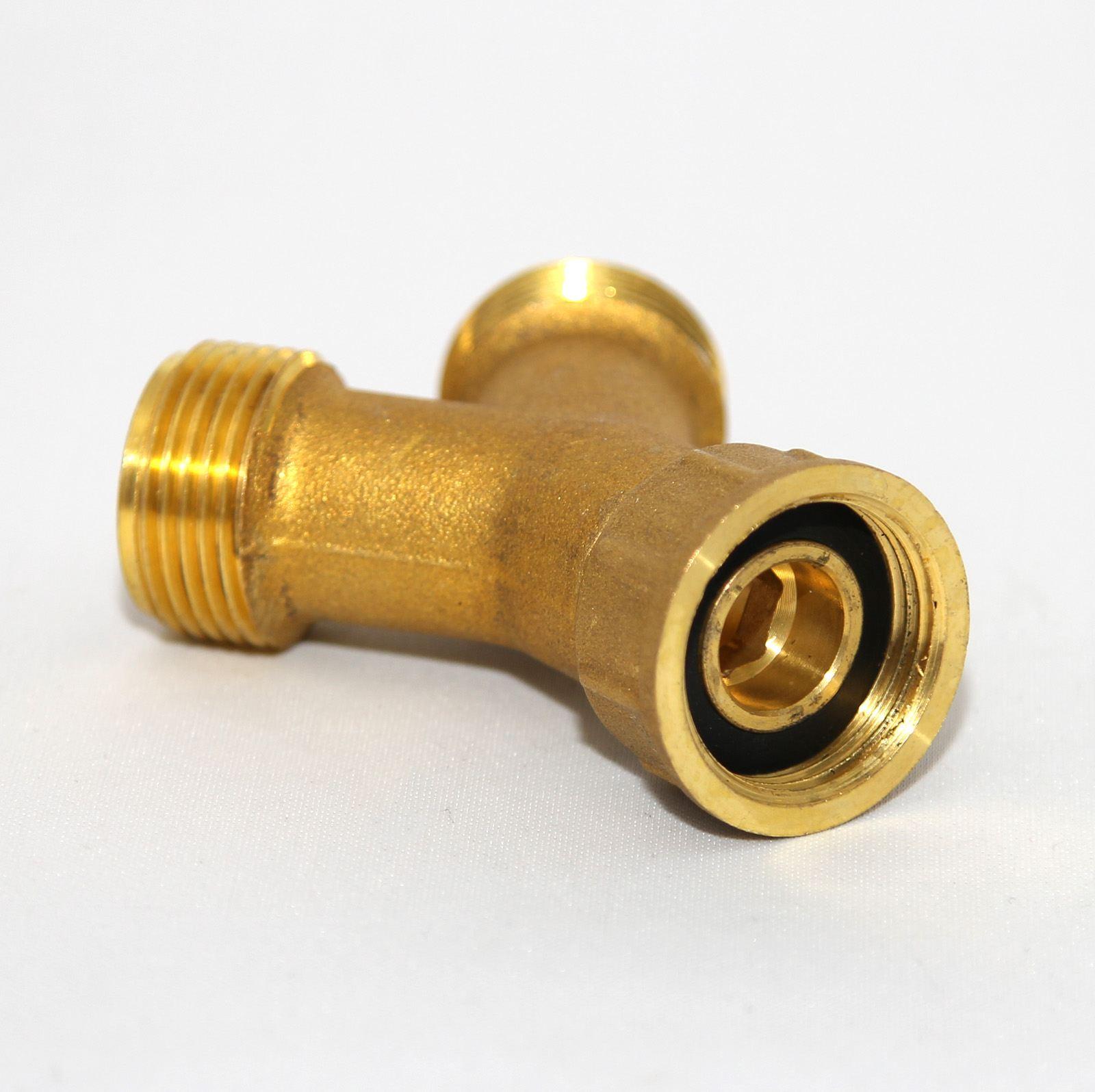 Union Type 3//4 Inch BSP Brass Washing Machine Y Piece 2 Way Splitter