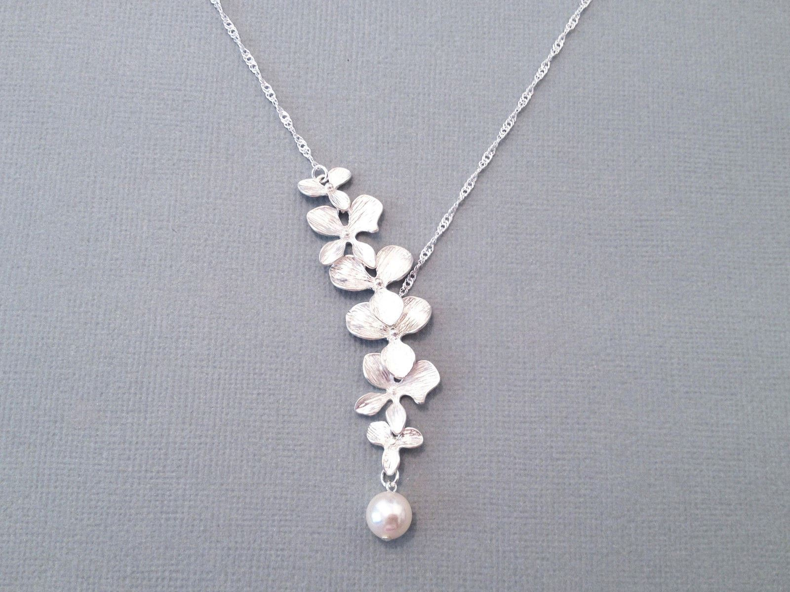 Uk silver plated trailing orchid flower and pearl pendant necklace uk silver plated trailing orchid flower and pearl pendant necklace aloadofball Images