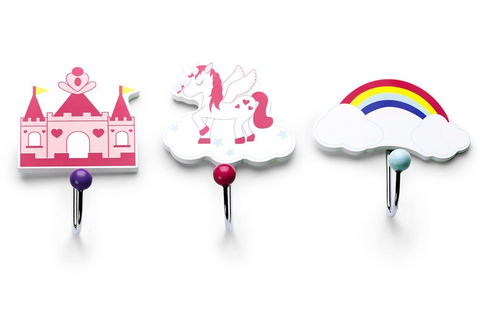 Einhorn f/ür M/ädchen Kinder Garderobenleiste mit 3 Haken Mousehouse Gifts