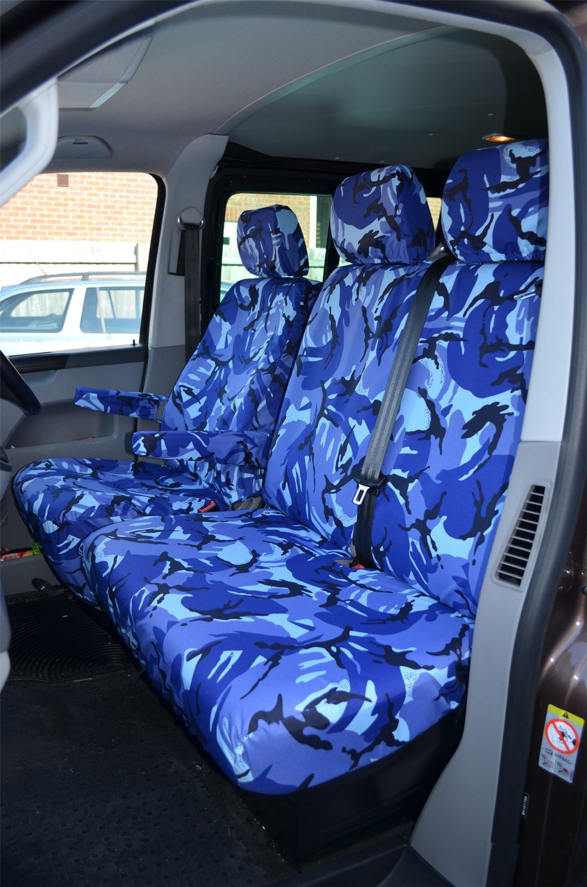 10-15 Blue Camo Driver Passenger Armrests Seat Covers for VW Transporter T5