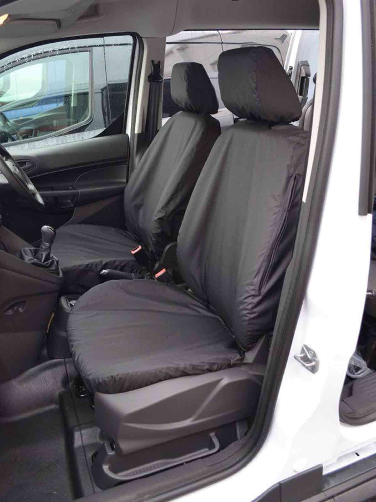 FORD TRANSIT VAN CONNECT HEAVY DUTY FRONT SEAT COVERS BLACK 1+1 02-12