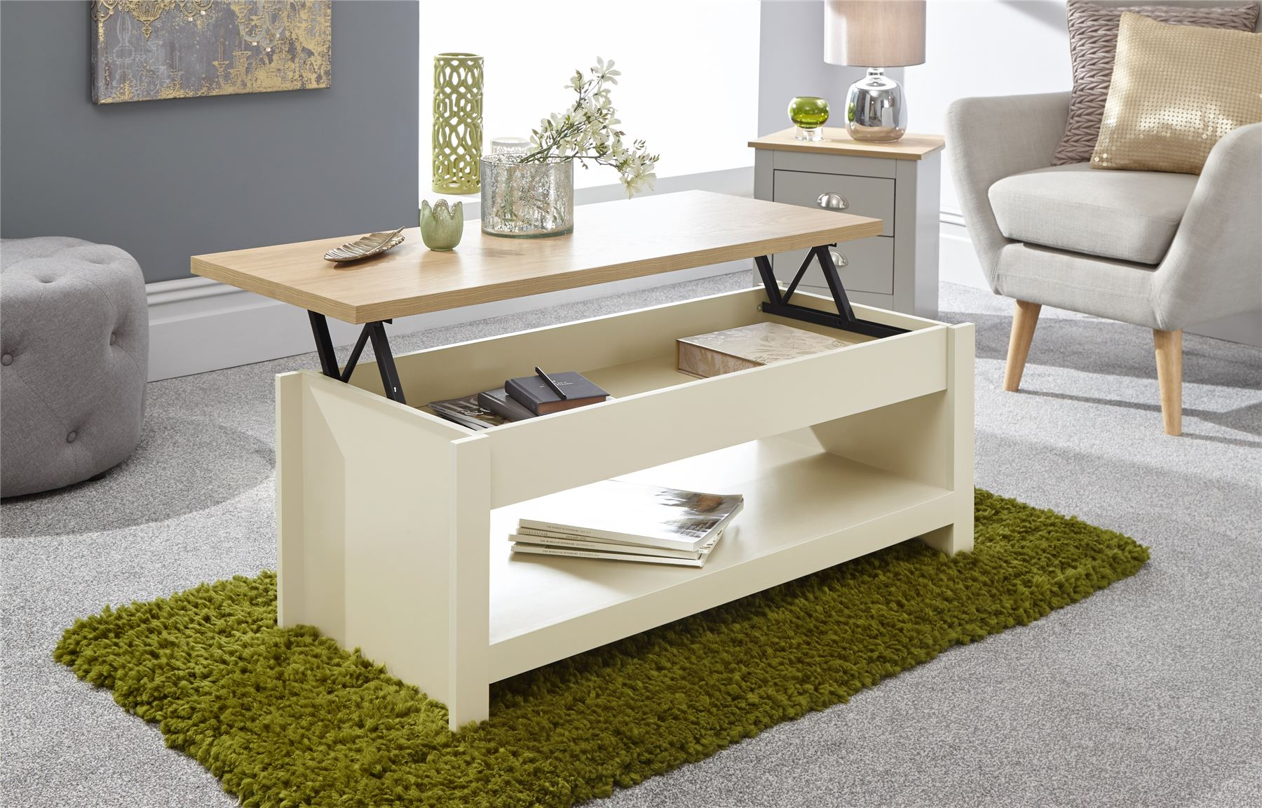 - Cream And Oak Lift Up Coffee Table With Shelf Lancaster Range For