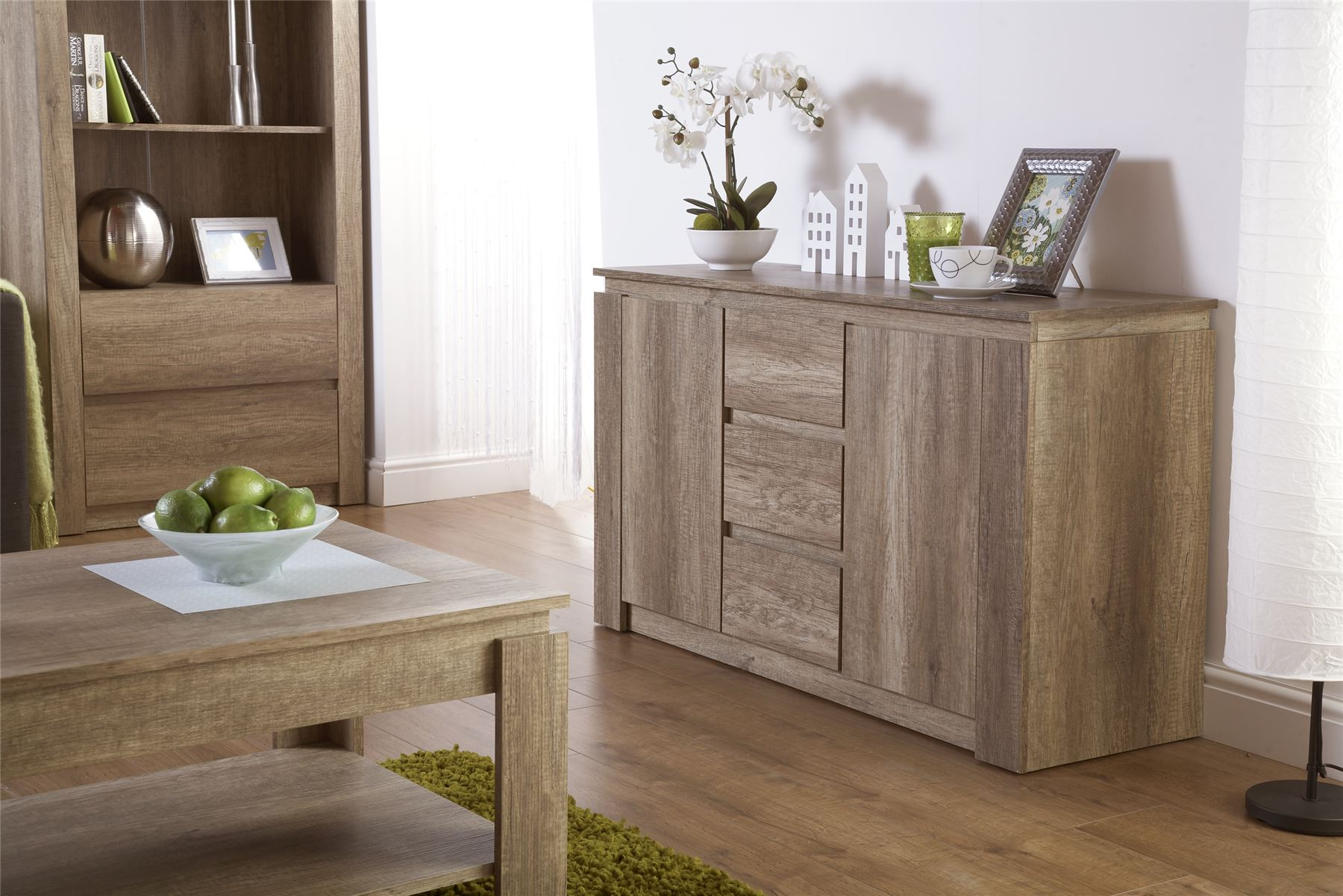 Details about Canyon Grey Oak Contemporary Living Room Furniture Coffee /  Lamp Table Sideboard