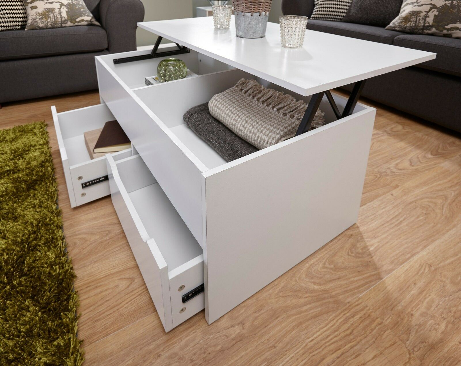 - The Ultimate Storage Coffee Table With 2 Drawers And Lift Up Top