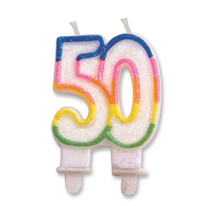50th Birthday Candle 4 Designs Anniversary Party Celebration Cake