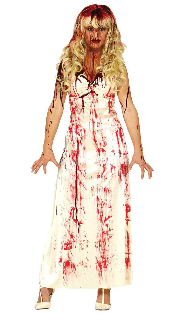 Womens Blood Stained White Dress Halloween Horror Gory Ladies Costume Outfit