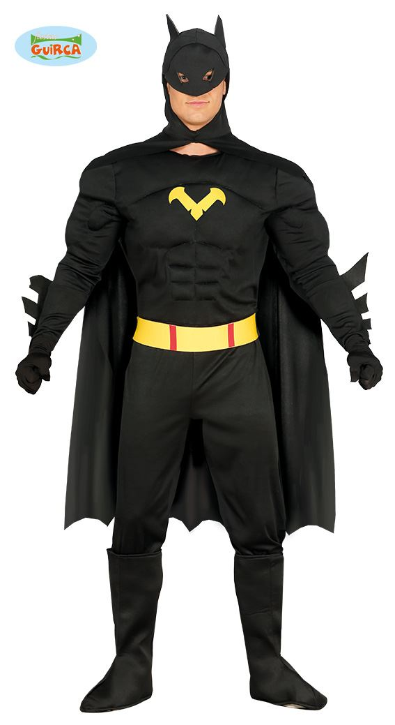 Image is loading Mens-Adults-Black-Bat-Superhero-Muscle-Chest-Fancy-  sc 1 st  eBay & Mens Adults Black Bat Superhero Muscle Chest Fancy Dress Costume ...