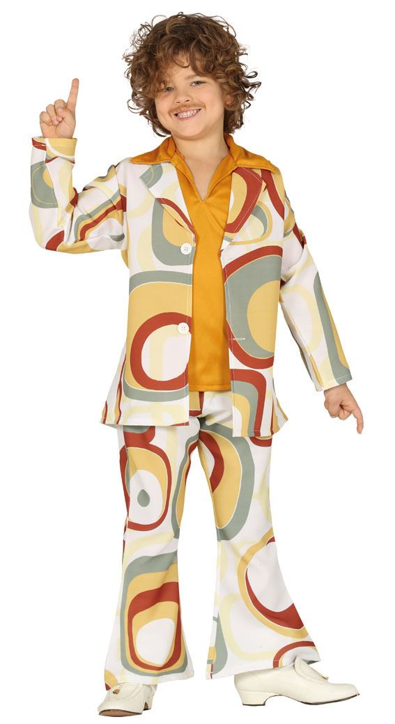 Boys Groovy 70s Psychedelic Retro Disco Fancy Dress Costume Flares