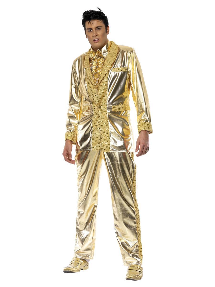 Da Uomo Adulti 50s Elvis Presley Oro Tuta ROCK /& ROLL IL RE Costume