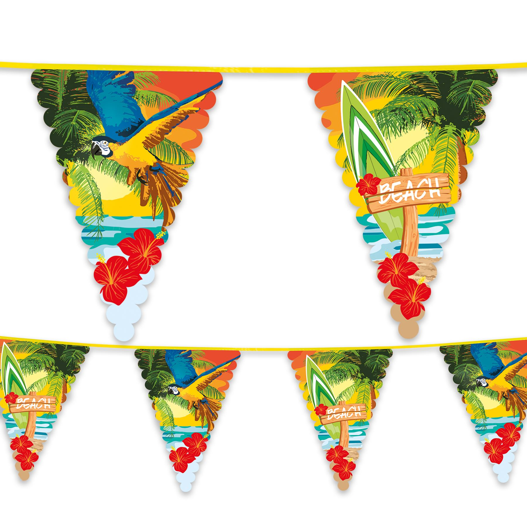 6m Long Giant Toucan Pennant Flag Bunting Hawaiian Party Decoration 20ft New