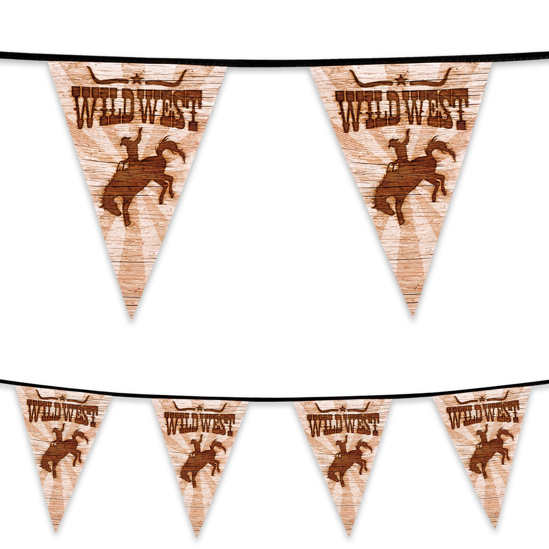 6m Plastic Bunting Wild West Sheriff Cowboy Rodeo Banner Garland Party Decor