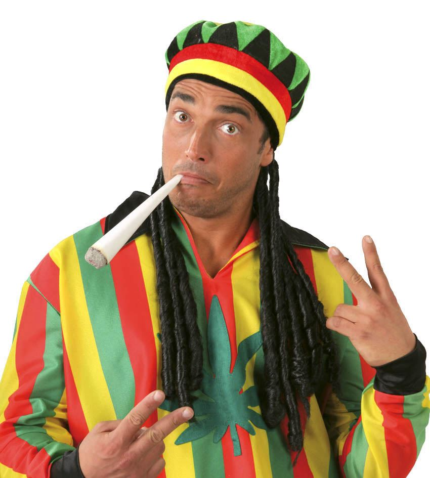 Mens Jamaican Hat With Dreadlocks Rasta Reggae Fancy Dress Accessory