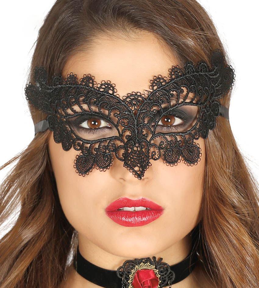 Womens Black Embroidered Bat Eye Mask Halloween Carnival Fancy Dress Accessory