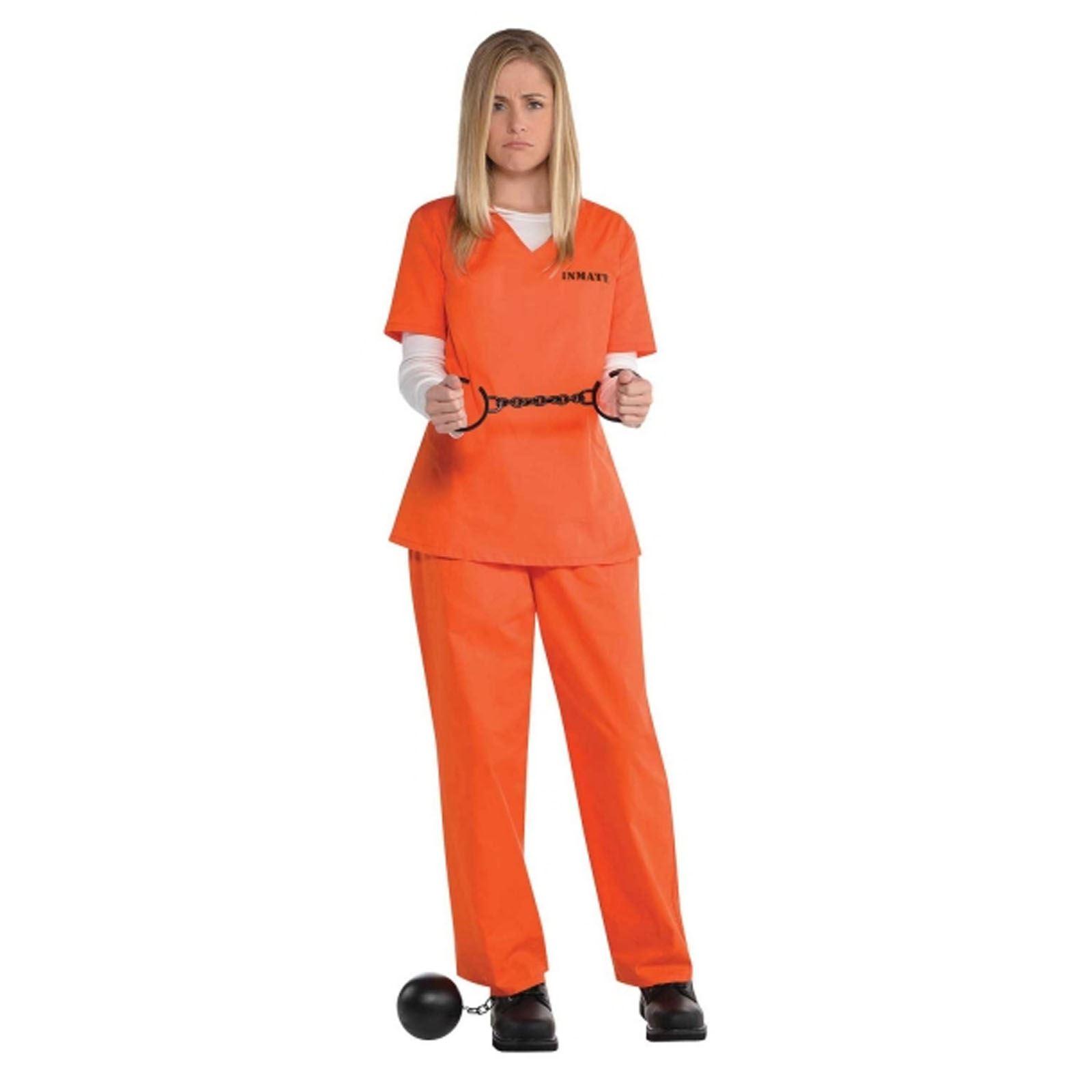 Ladies-Orange-Inmate-Uniform-Convict-Prisoner-New-Black-  sc 1 st  eBay & Ladies Orange Inmate Uniform Convict Prisoner New Black Fancy Dress ...