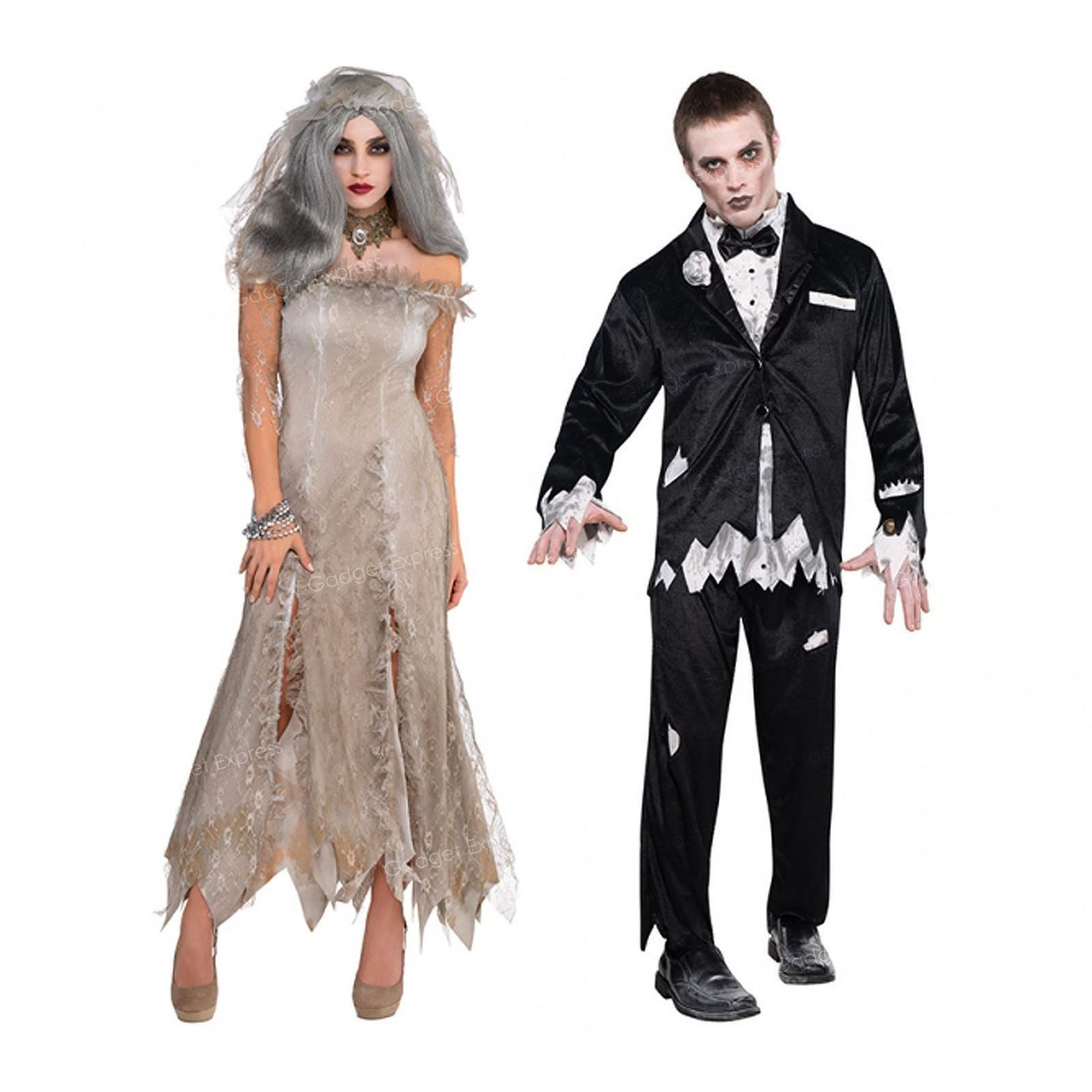 Mens Ladies Zombie Dead Bride Groom Couples Costume Adult ...