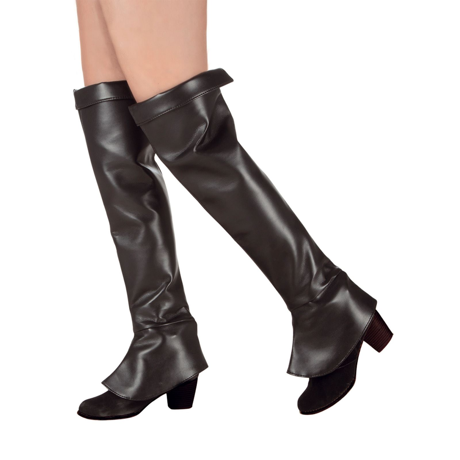Mens Ladies Black Boot Top Covers Medieval Peter Pan Pirate Steam Punk Costume; Picture 2 of 2  sc 1 st  eBay & Ladies Long Black Medieval Pirate Superhero Fancy Dress Costume Boot ...