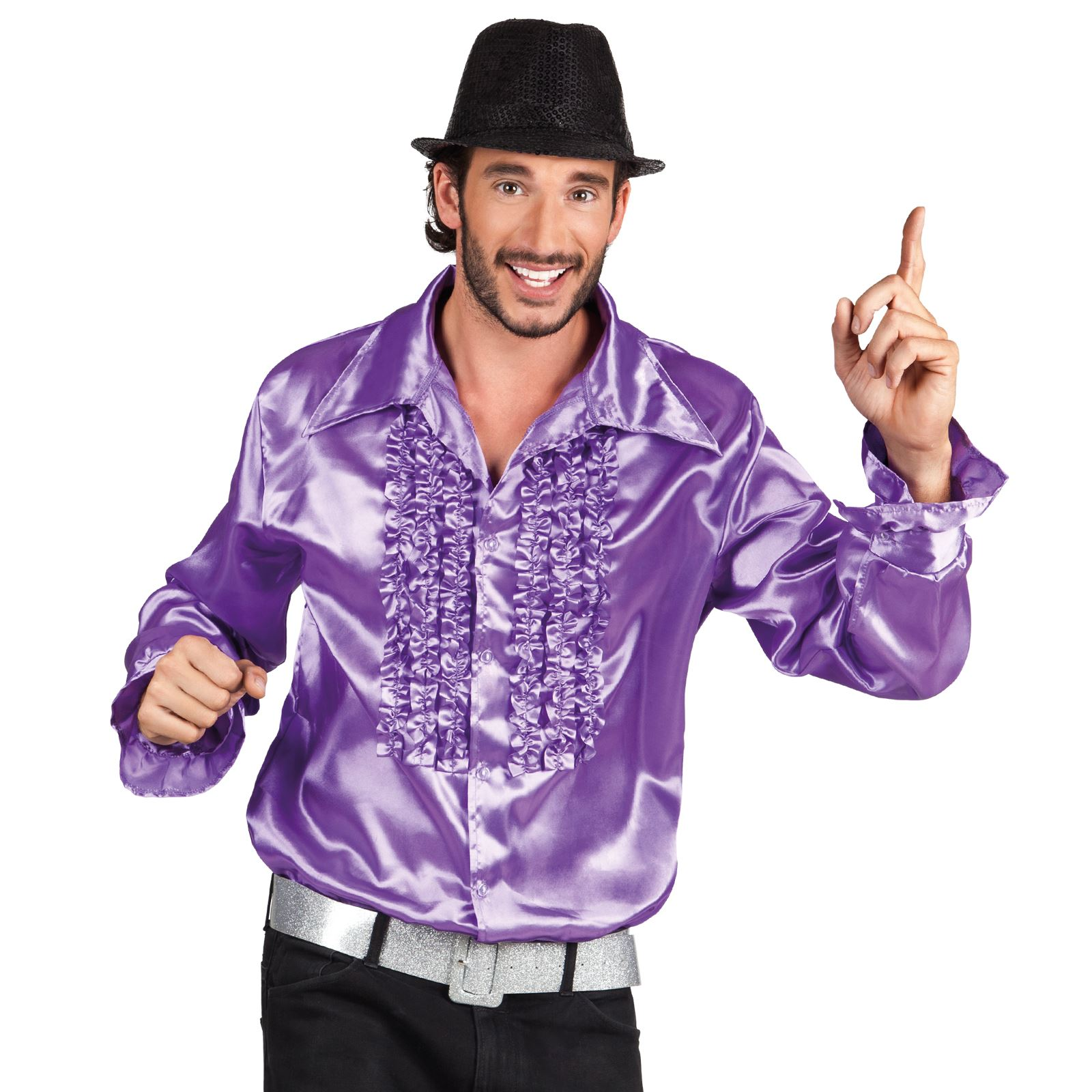 Deluxe adult mens 60s 1970 39 s disco fever frilly ruffle for Frilly shirts for men