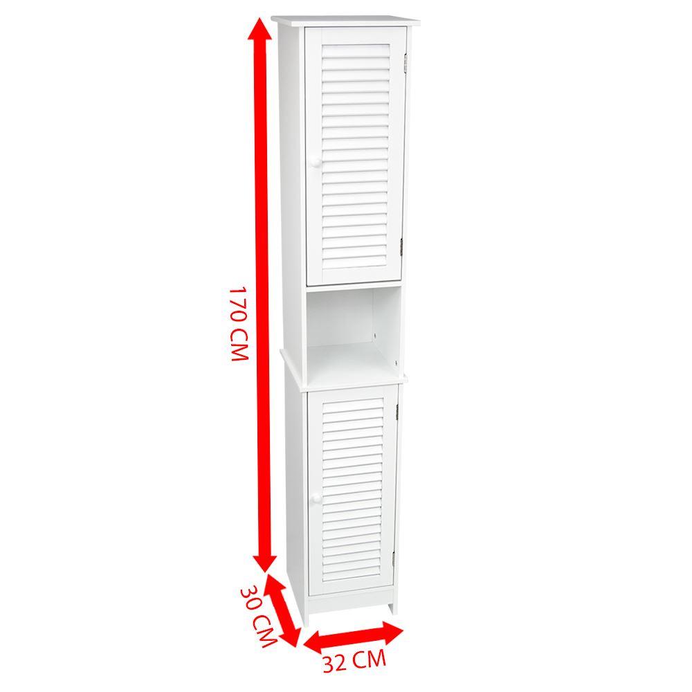Mobile-bagno-Singolo-Doppio-Porta-PARETE-BIANCO-LEGNO-ARMADIO-Tallboy