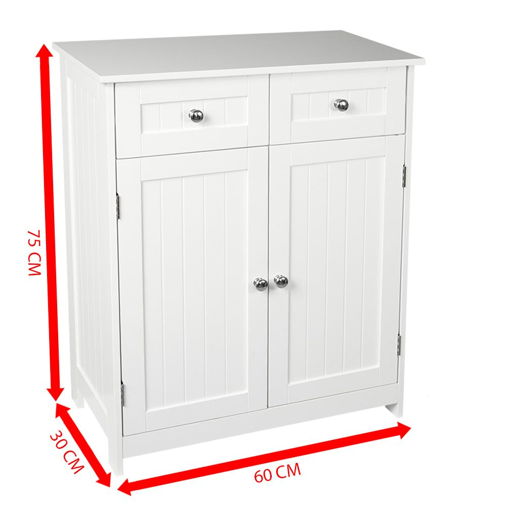 Priano Bathroom Cabinet 2 Drawer 2 Door Storage Cupboard ...