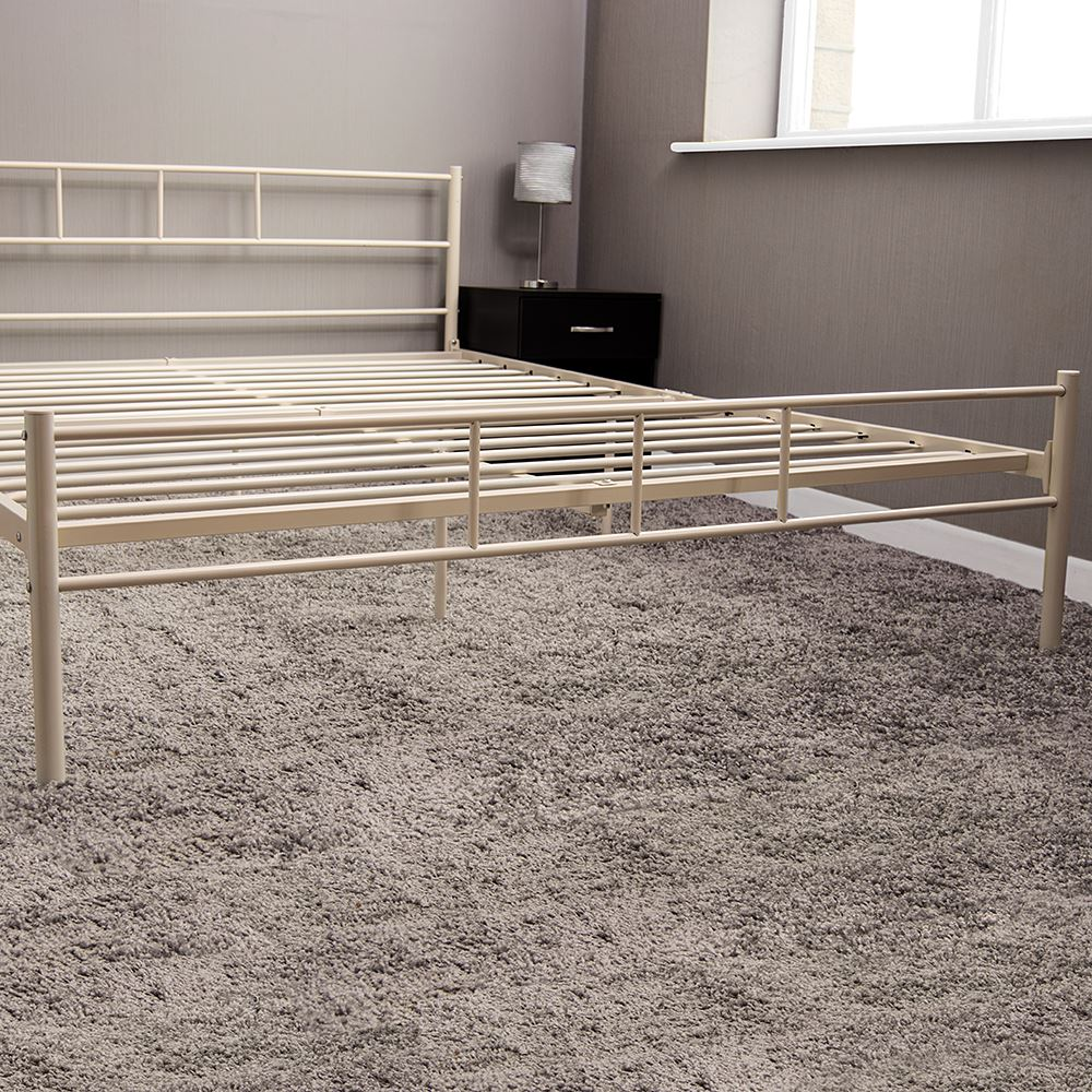 Dorset Double Bed 4Ft6 Black Silver White Metal Steel Frame Modern ...