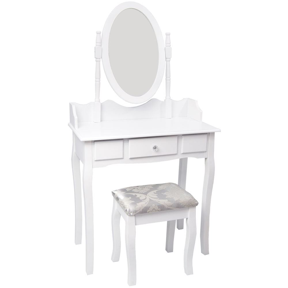 nishano dressing table 1 drawer stool white mirror bedroom