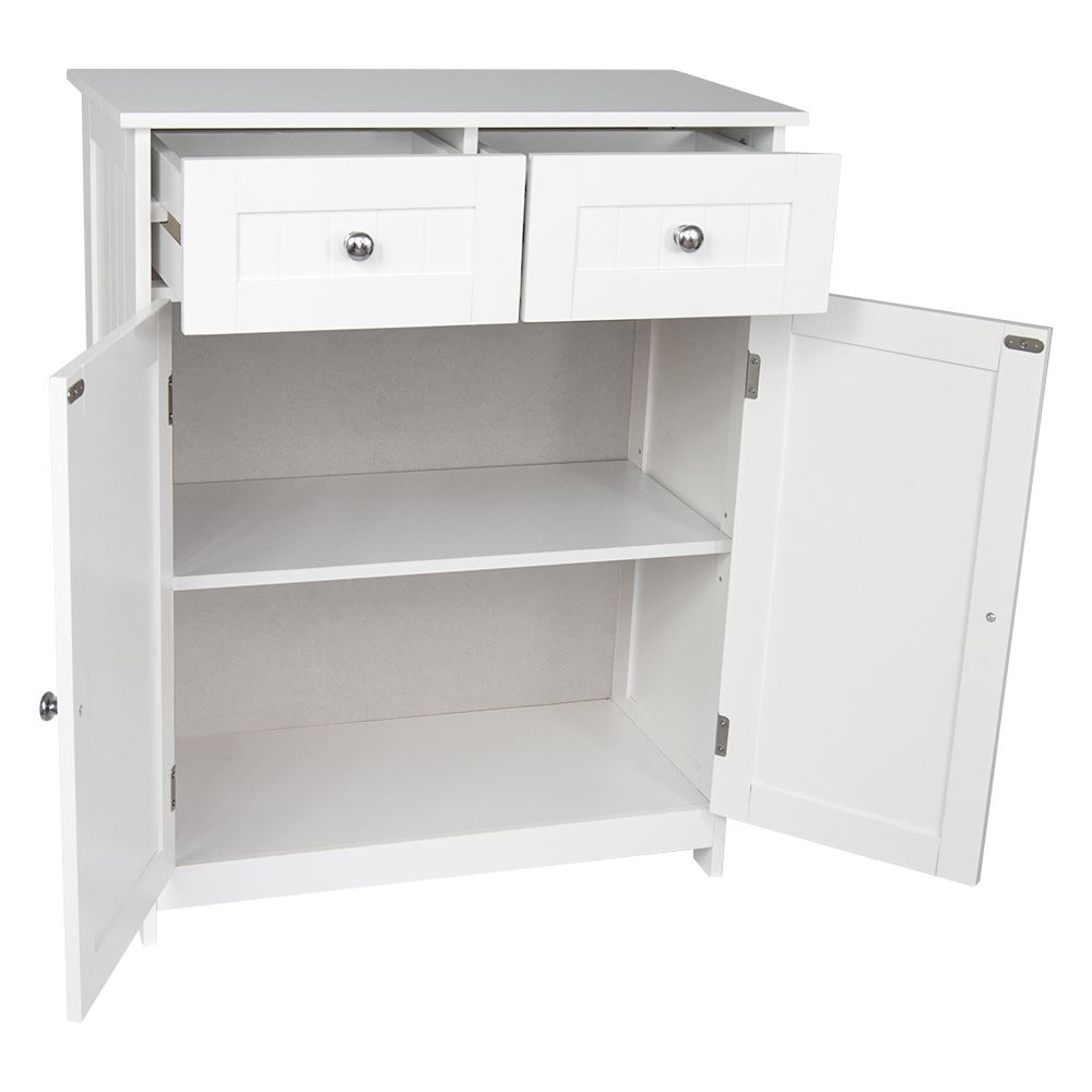 Priano bathroom cabinet 2 drawer 2 door storage cupboard for Kitchen drawers and cupboards