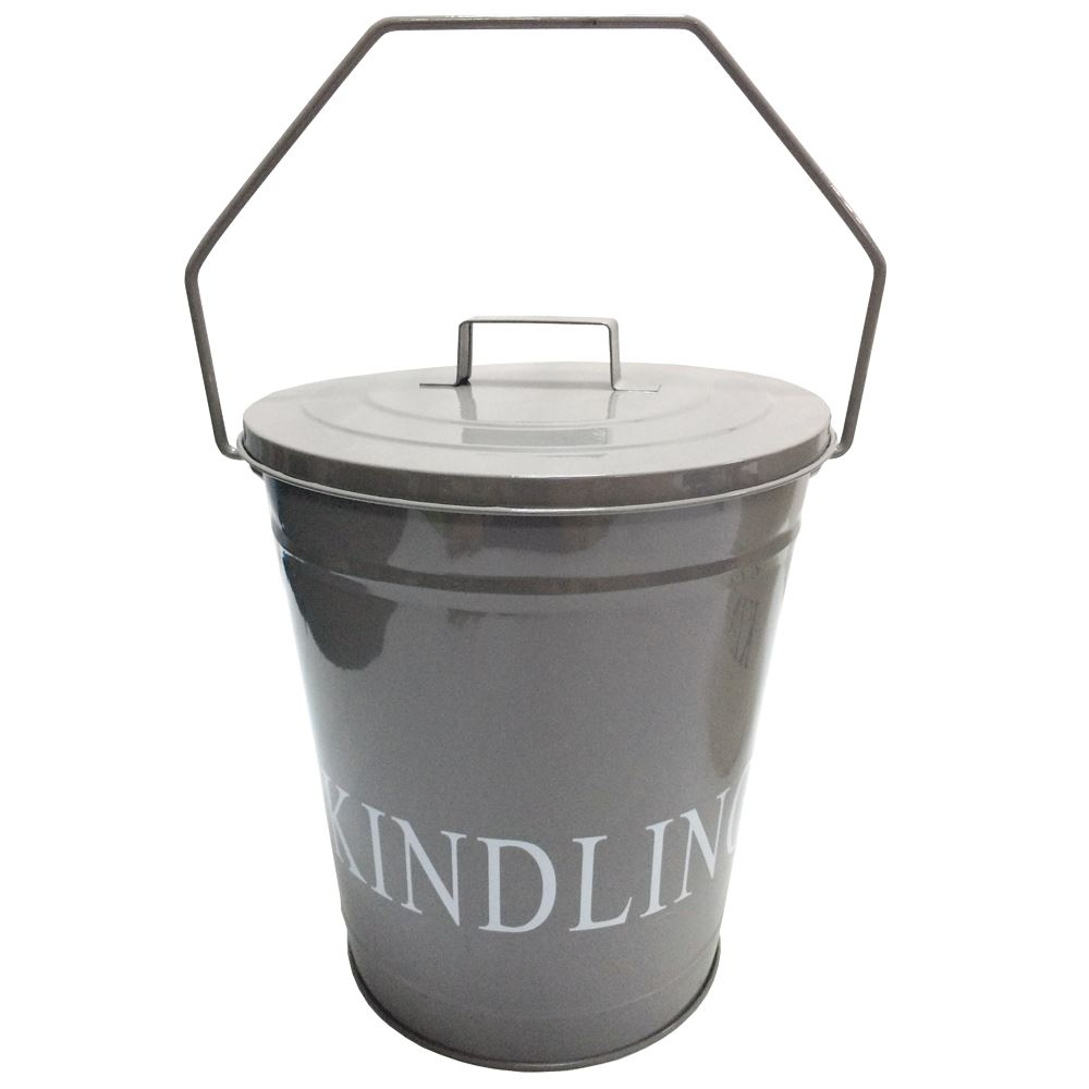 Kindling-Bucket-Grey-Cream-With-Lid-Fireplace-Coal-  sc 1 st  eBay & Kindling Bucket Grey Cream With Lid Fireplace Coal Wood Metal ...