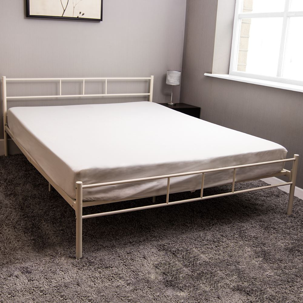 Dorset King Size Bed 5ft White Metal Steel Frame Modern Bedroom ...