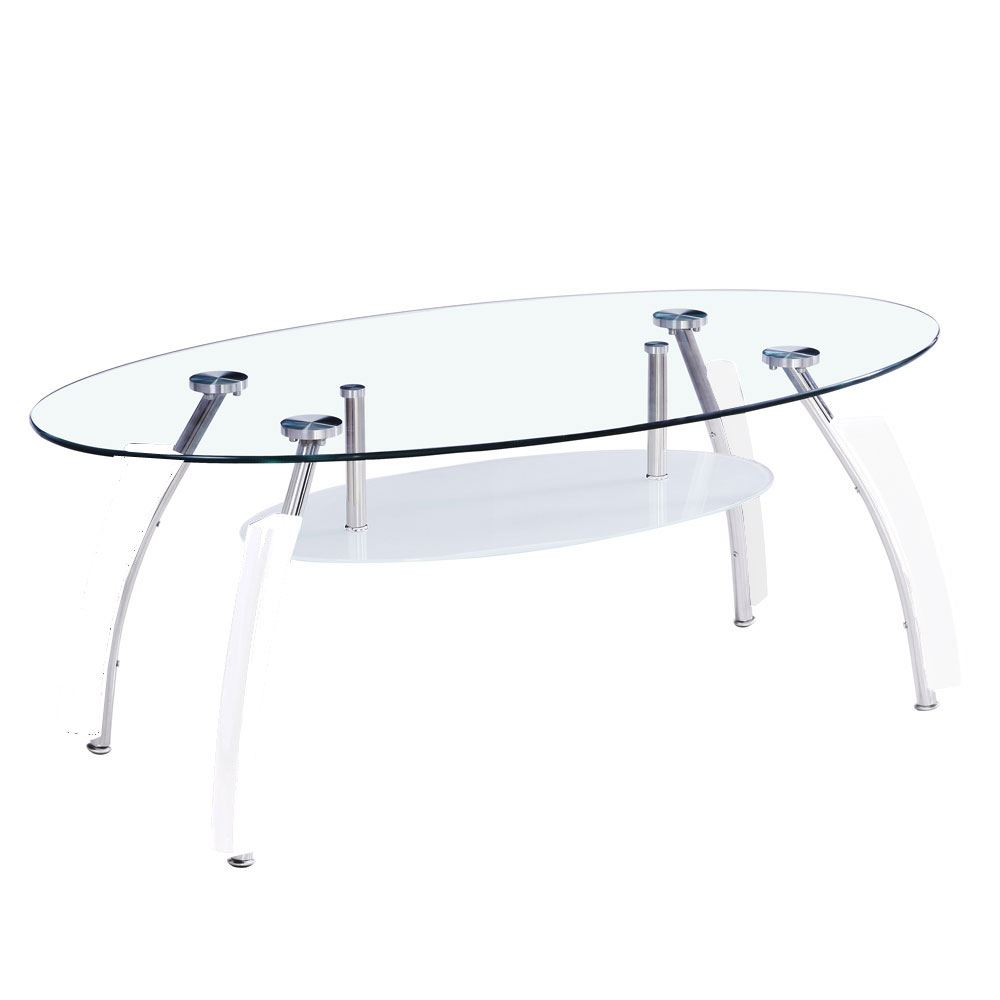 Elena coffee table oval clear white legs glass shelf modern by picture 2 of 2 geotapseo Choice Image