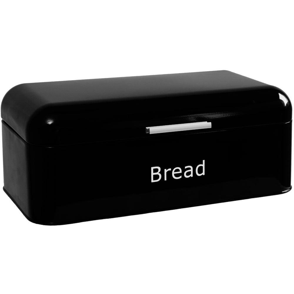 Rectangular Bread Bin Steel Roll Top Kitchen Storage Loaf: Bread Bin Black Curved Steel Kitchen Top Container Loaf