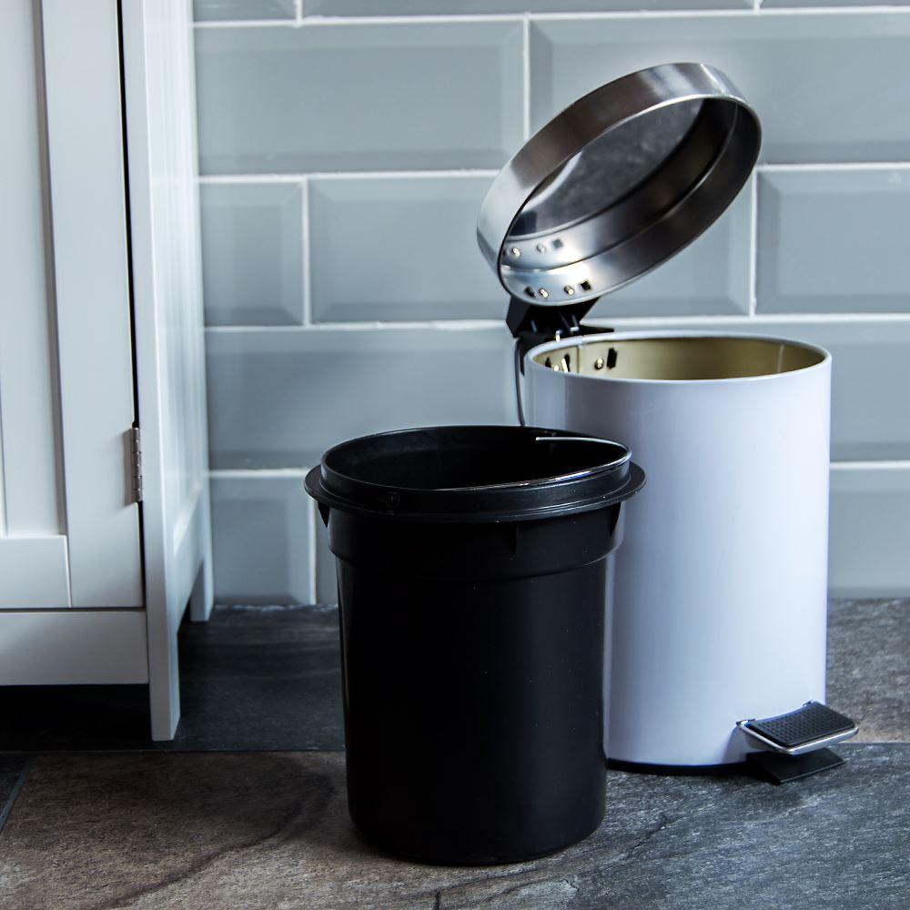 3 Litre Pedal Bin White Bathroom Kitchen Rubbish Disposal Stainless ...