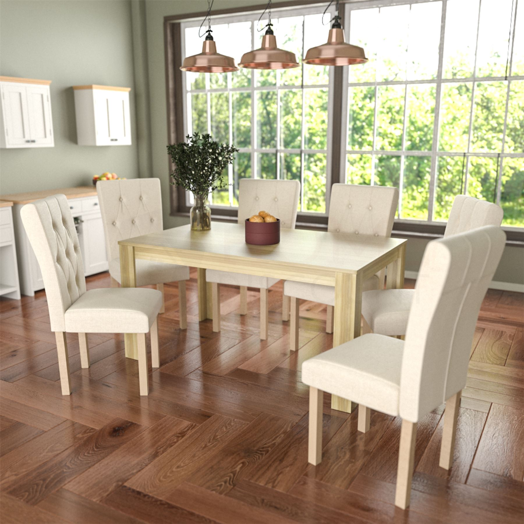 Dining Table and Chairs 6 Seat Set Fabric Linen Wood ...