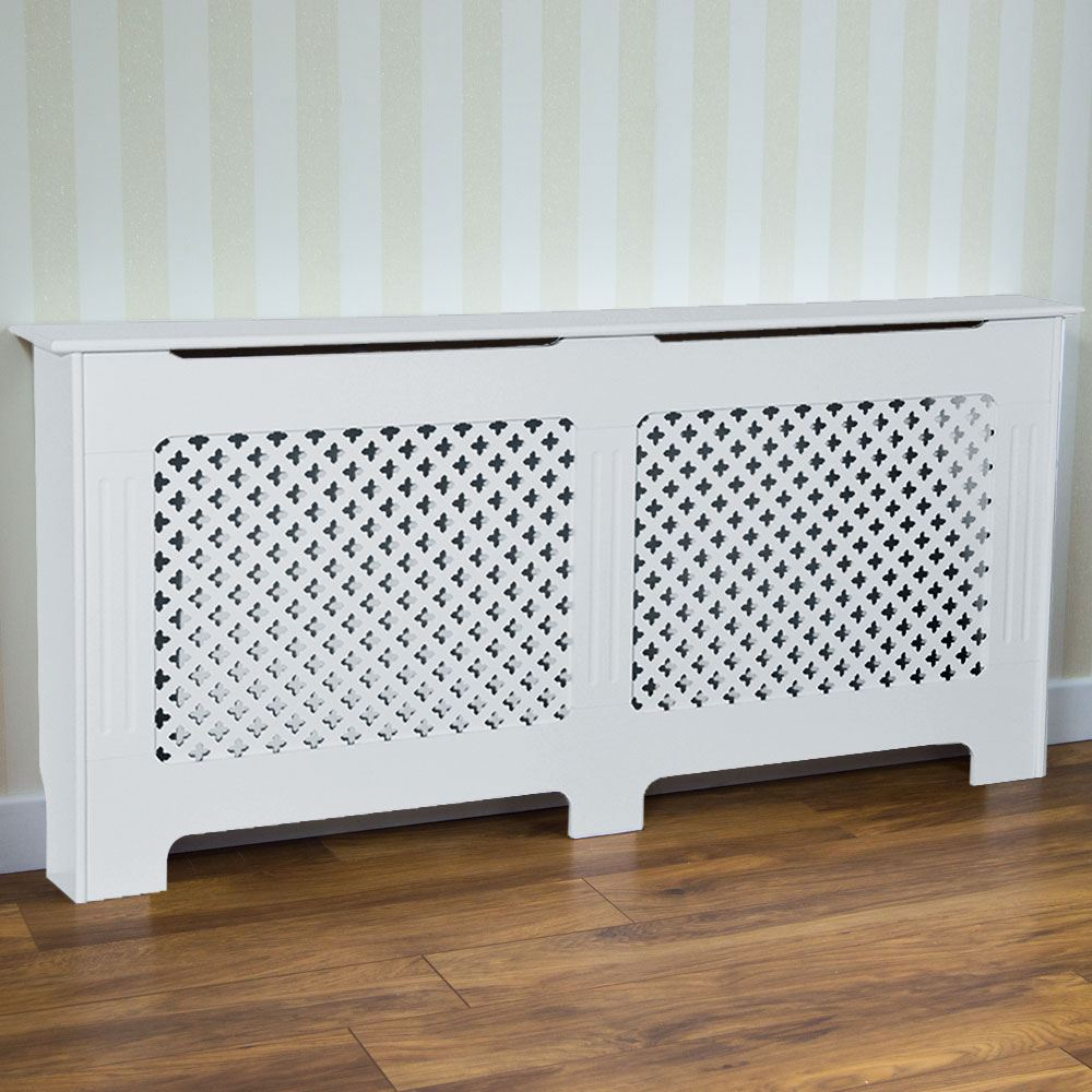 Radiator Cover Traditional White Large Mdf Classic Wood