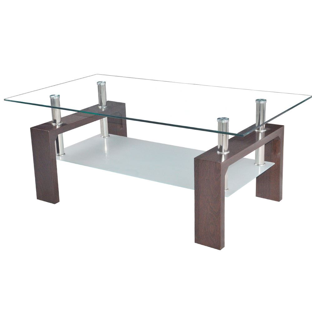 Rectangle Coffee Table Lower Shelf Living Room Glass