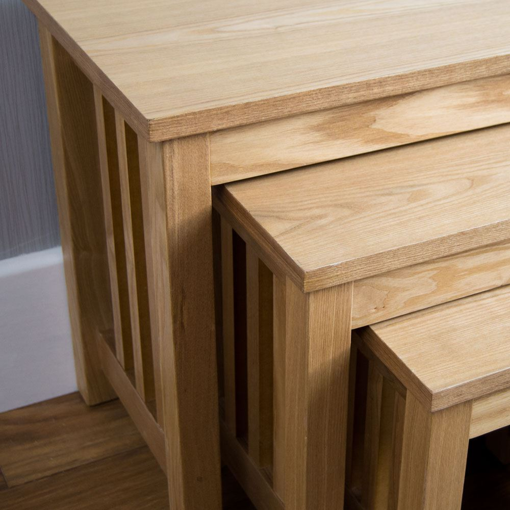 Conran Solid Oak Living Room Furniture Side End Lamp Table: Nest Of Tables 2 3 Table Units Solid Wood Living Room Side